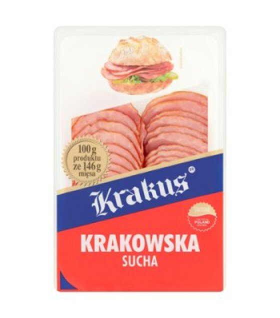 "KRAKUS Sausage ""Krakowskaya""pork coarsely crumbled with steamed scalded meat - 80g (exp. 07.06.19)"