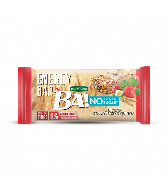 "BAKALLAND Energy Bar ""BA!"" with Strawberry and Quinoa No Sugar - 30g (exp. 29.02.20)"