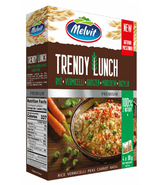 MELVIT Trendy Lunch Rice, Vermicelli, Dried Peas, Carrot, Basil - 4x80g (exp. 28.02.22)