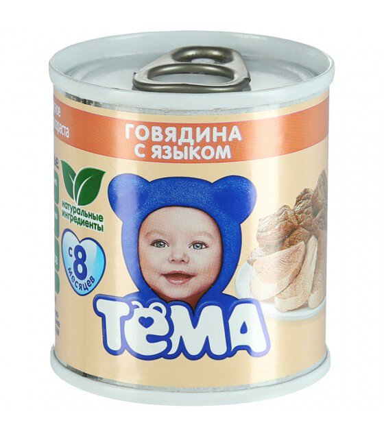 "Puree ""Tyoma"" Beef with tongue (from 8 months) - 100g (exp. 13.02.20)"