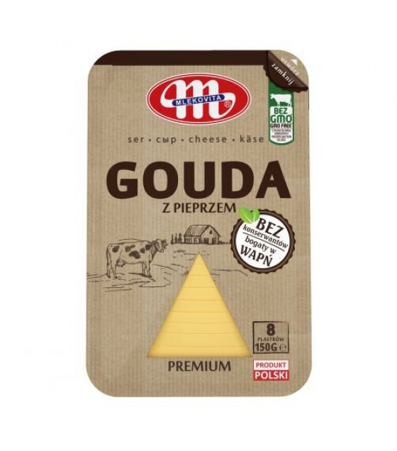 Mlekovita GOUDA cheese slices with pepper -150 g (exp. 30.12.19)