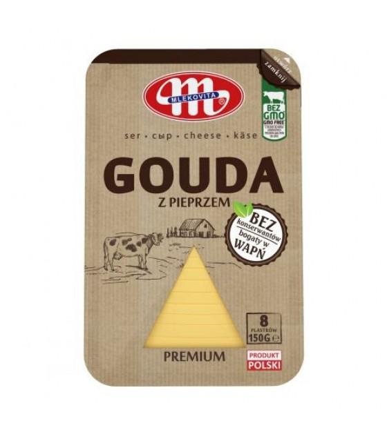 Mlekovita GOUDA cheese slices with pepper -150 g (exp. 11.11.19)