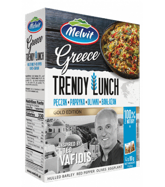 "MELVIT Trendy Lunch ""Greece"" Hulled Barley, Red Pepper, Olives, Eggplant - 4x80g (exp. 23.11.20)"