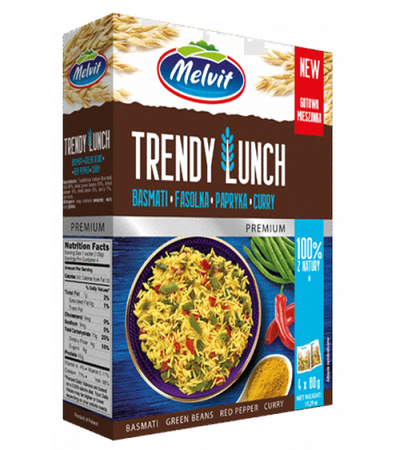 MELVIT Trendy Lunch Basmati, Green Beans, Red Pepper, Curry - 4x80g (best before 01.11.21)