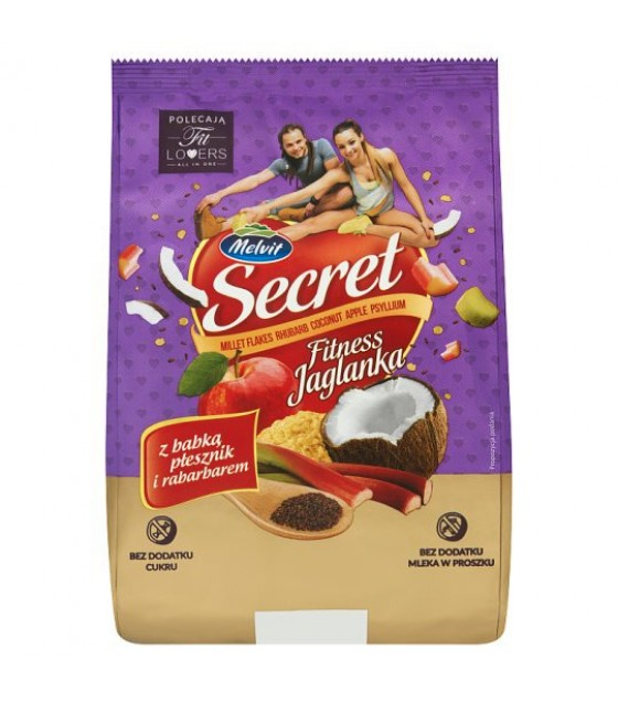 "MELVIT ""Secret Fitness"" Millet Flakes with Rhubarb and Psyllium - 350g (exp. 02.12.20)"