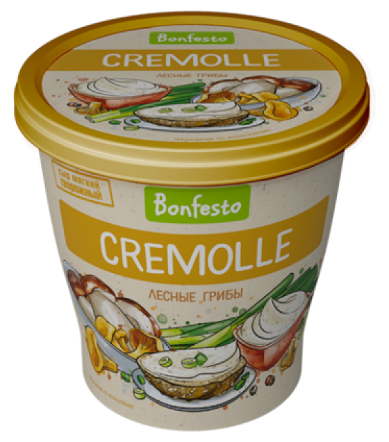 "BONFESTO Soft Aerated Creamy-curd Cheese ""Cremolle"" with 65% fat and ""Wild Mushrooms"" filler - 125g (before before 19.02.21)"